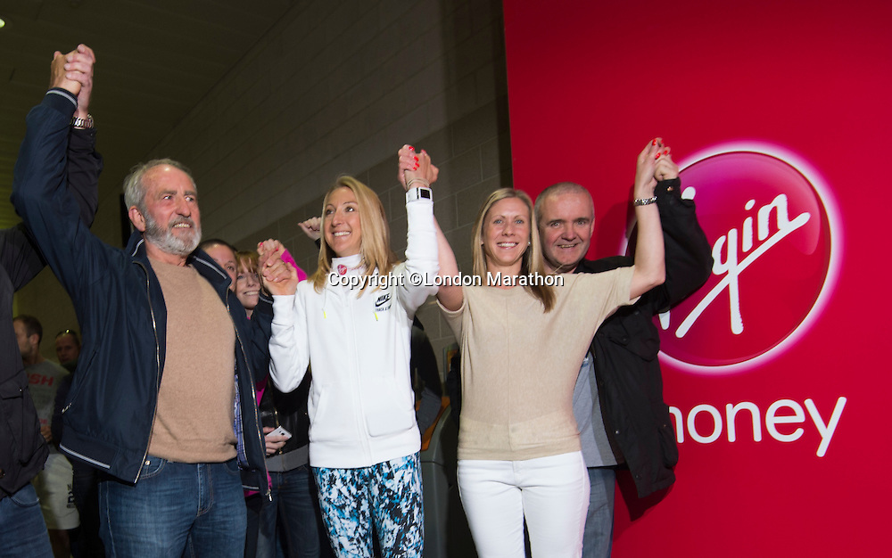 Paula Radcliffe UK opens the Virgin Marathon London Marathon Expo 2015<br /> <br /> posing with the first runners queuing to register to receive their bibs.<br /> <br /> L to R<br /> <br /> Vick Oliver (with beard)<br /> Paula Radcliffe<br /> Sally Thomson (Blond)<br /> Joey Keegan (crew cut hair)<br /> <br /> Virgin Money London Marathon 2015<br /> <br /> <br /> Photo: Bob Martin for Virgin Money London Marathon<br /> <br /> This photograph is supplied free to use by London Marathon/Virgin Money.