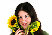 Teen with sunflowers