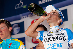 POZZOVIVO Domenico of Colnago drinking champagne during 3rd Stage (219 km) at 19th Tour de Slovenie 2012, on June 16, 2012, in Ivancna Gorica, Slovenia. (Photo by Matic Klansek Velej / Sportida.com)