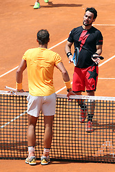 May 18, 2018 - Rome, Rome, Italy - 18th May 2018, Foro Italico, Rome, Italy; Italian Open Tennis; (L-R) Rafael Nadal (ESP) greets Fabio Fognini (ITA) after winning 4-6, 6-1, 6-2 a quarter-final match. Credit: Giampiero Sposito/Pacific Press (Credit Image: © Giampiero Sposito/Pacific Press via ZUMA Wire)