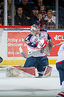 KELOWNA, CANADA - OCTOBER 27: Patrick Dea #30 of the Tri-City Americans makes a save against the Kelowna Rockets on October 27, 2017 at Prospera Place in Kelowna, British Columbia, Canada.  (Photo by Marissa Baecker/Shoot the Breeze)  *** Local Caption ***