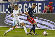 CHICAGO, IL - AUGUST 02: Real Madrid forward Lucas Vazquez (17) defends against MLS All-Star and Chicago Fire Forward Nemanja Nikolic (22) in the second half during a soccer match between the MLS All-Stars and Real Madrid on August 02, 2017, at Soldier Field in Chicago, IL. The game ended in a 1-1 tie with Real Madrid winning on penalty kicks 4-2. (Photo By Daniel Bartel/Icon Sportswire)