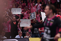 2019-04-27 | Stockholm, Sweden: Falun supporters during the game between Storvreta IBK and IBF Falun at Ericsson Globe Arena ( Photo by: Simon Holmgren | Swe Press Photo )<br /> <br /> Keywords: Ericsson Globe Arena, Stockholm, Floorball, SM-Final, Storvreta IBK, IBF Falun