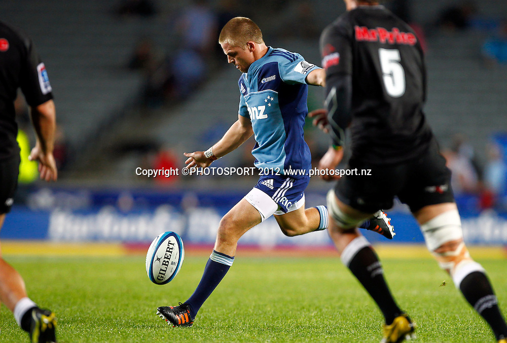 Gareth Anscombe of the Blues kicks a drop goal during the Super Rugby game between The Blues and The Sharks at Eden Park, Auckland New Zealand, Friday 13 April 2012. Photo: Simon Watts / photosport.co.nz