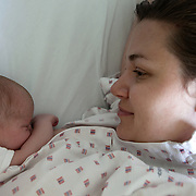 Oslo, Norway, August 27, 2012. Ullevål Hospital, Maternity Ward. Kornelia, Polish mother and her daughter Olivia.