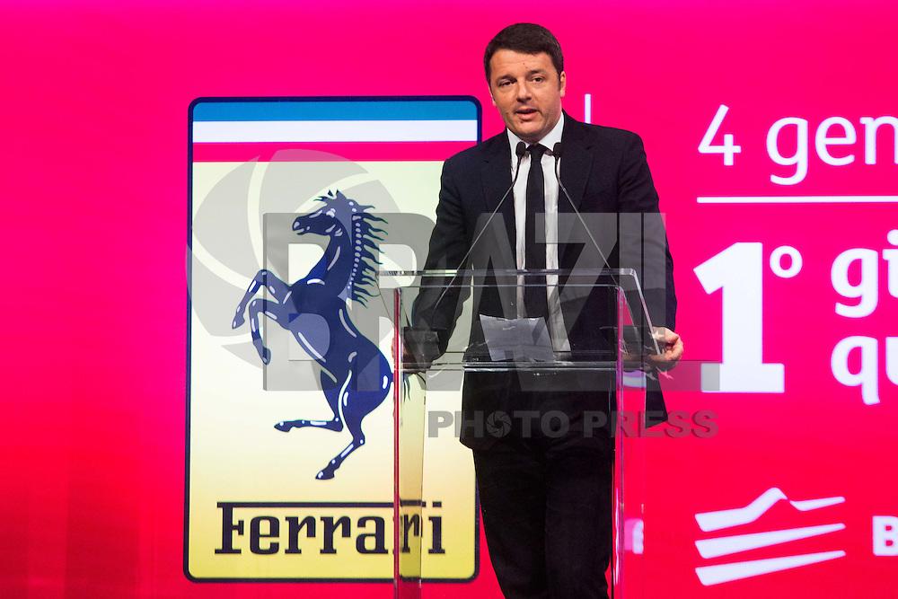 MILÃO, ITÁLIA - 04.01.2016 - AUTOMOBILISMO-FERRARI - O primeiro-ministro da Itália, Matteo Renzi, discursa durante o lançamento do mercado de ações Ferrari em Milão. (Foto: Mauro Ujetto/Brazil Photo Press)
