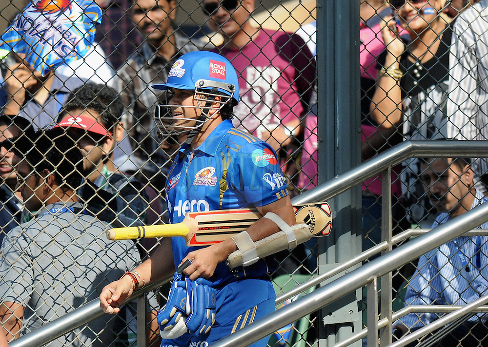 Sachin Tendulkar of Mumbai Indians walks in to bat during match 28 of the Indian Premier League ( IPL) 2012  between The Mumbai Indians and the Kings X1 Punjab held at the Wankhede Stadium in Mumbai on the 22nd April 2012..Photo by Pal Pillai/IPL/SPORTZPICS.