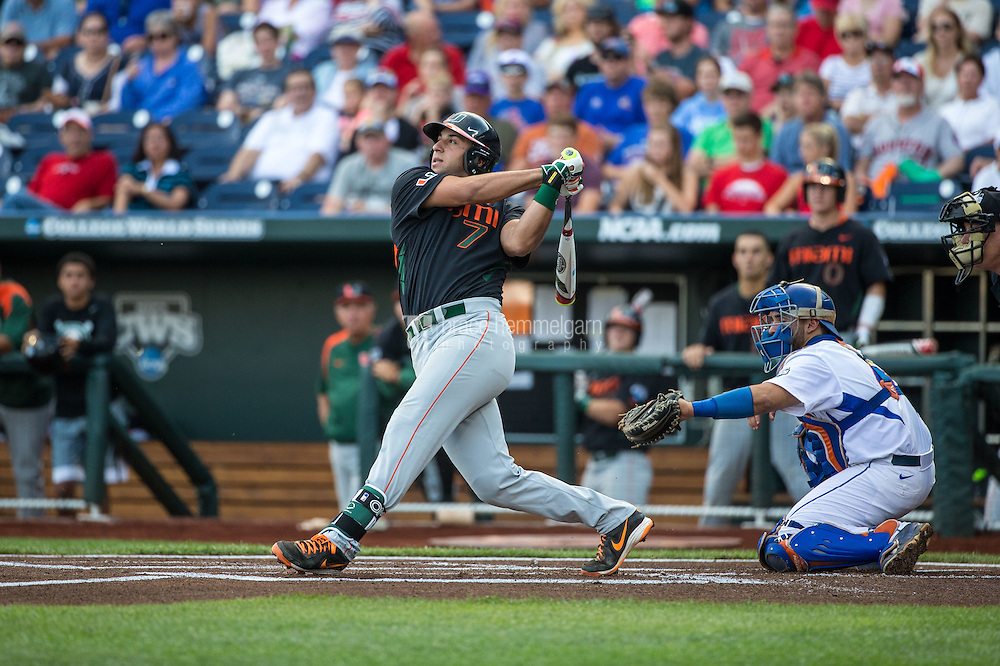 George Iskenderian (7) of the Miami Hurricanes bats during a game between the Miami Hurricanes and Florida Gators at TD Ameritrade Park on June 13, 2015 in Omaha, Nebraska. (Brace Hemmelgarn)