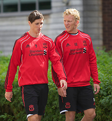 LIVERPOOL, ENGLAND - Wednesday, August 18, 2010: Liverpool's Fernando Torres and Dirk Kuyt during a training session at Melwood ahead of the UEFA Europa League Play-Off 1st Leg match against Trabzonspor A.S. (Pic by: David Rawcliffe/Propaganda)