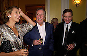 Sir Frederick and Lady Forsyth and Sir Anthony Andrews, Bruce Oldfield celebrates the publication of 'Rootless' party in aid of Crimestoppers. Claridges. 22 September 2004. SUPPLIED FOR ONE-TIME USE ONLY-DO NOT ARCHIVE. © Copyright Photograph by Dafydd Jones 66 Stockwell Park Rd. London SW9 0DA Tel 020 7733 0108 www.dafjones.com