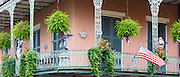 Typical architecture wrought iron balcony, on corner of St Philip and Royal Street, French Quarter, New Orleans, USA