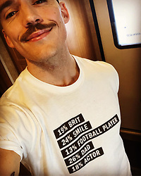 """Sam Claflin releases a photo on Instagram with the following caption: """"Thank you @dkny for this character breakdown. I\u2019d say you know me too well. \n100% me."""". Photo Credit: Instagram *** No USA Distribution *** For Editorial Use Only *** Not to be Published in Books or Photo Books ***  Please note: Fees charged by the agency are for the agency's services only, and do not, nor are they intended to, convey to the user any ownership of Copyright or License in the material. The agency does not claim any ownership including but not limited to Copyright or License in the attached material. By publishing this material you expressly agree to indemnify and to hold the agency and its directors, shareholders and employees harmless from any loss, claims, damages, demands, expenses (including legal fees), or any causes of action or allegation against the agency arising out of or connected in any way with publication of the material."""