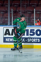 KELOWNA, CANADA - MARCH 18:  Cayde Augustine #5 of the Kelowna Rockets warms up against the Vancouver Giants on March 1, 2018 at Prospera Place in Kelowna, British Columbia, Canada.  (Photo by Marissa Baecker/Shoot the Breeze)  *** Local Caption ***