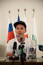 Primoz Roglic during press conference of slovenian rider Primoz Roglic after Tour de France 2018 on August 6, 2018 in Ljubljana, Slovenia. Photo by Urban Meglic / Sportida