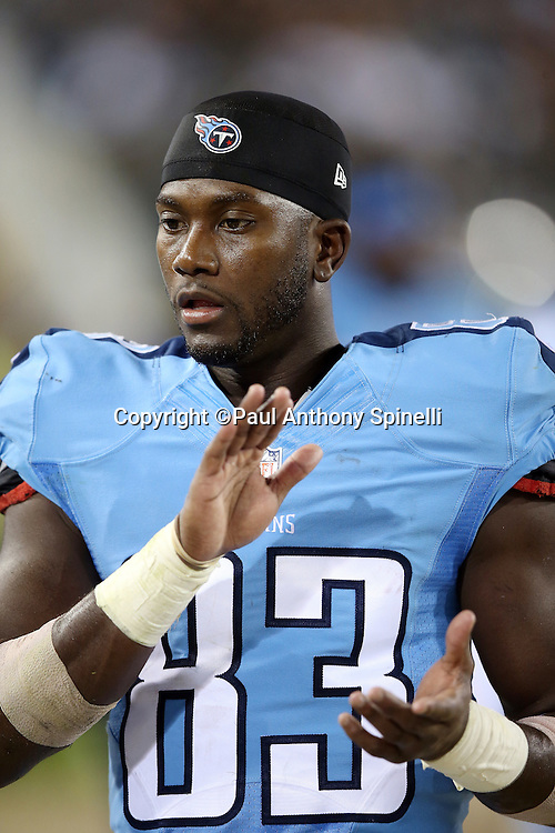 Tennessee Titans wide receiver Harry Douglas (83) claps on the sideline during the 2015 week 11 regular season NFL football game against the Jacksonville Jaguars on Thursday, Nov. 19, 2015 in Jacksonville, Fla. The Jaguars won the game 19-13. (©Paul Anthony Spinelli)