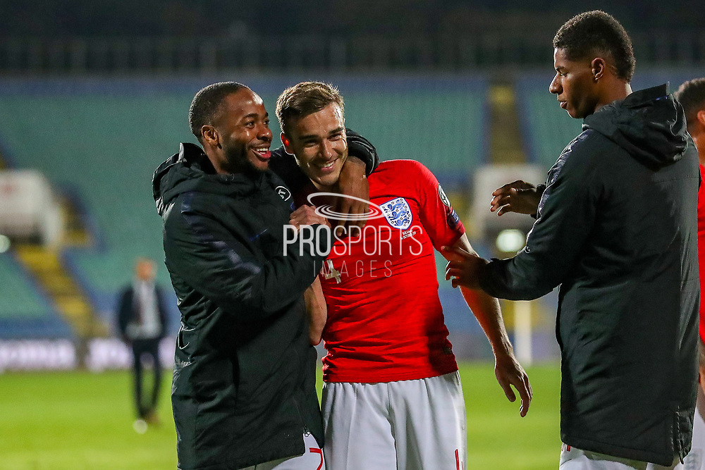 England forward Raheem Sterling and England midfielder Harry Winks congratulate each other at full time during the UEFA European 2020 Qualifier match between Bulgaria and England at Stadion Vasil Levski, Sofia, Bulgaria on 14 October 2019.