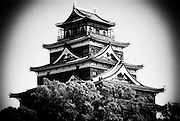 "Hiroshima's ""Carp"" Castle in Hiroshima, Japan. The castle was originally built in the 1590s by the feudal lord Mori Terumoto, but was destroyed by the atomic bombing in 1945. Once the location of Japan's Imperial GHQ, the castle was rebuilt in 1958."