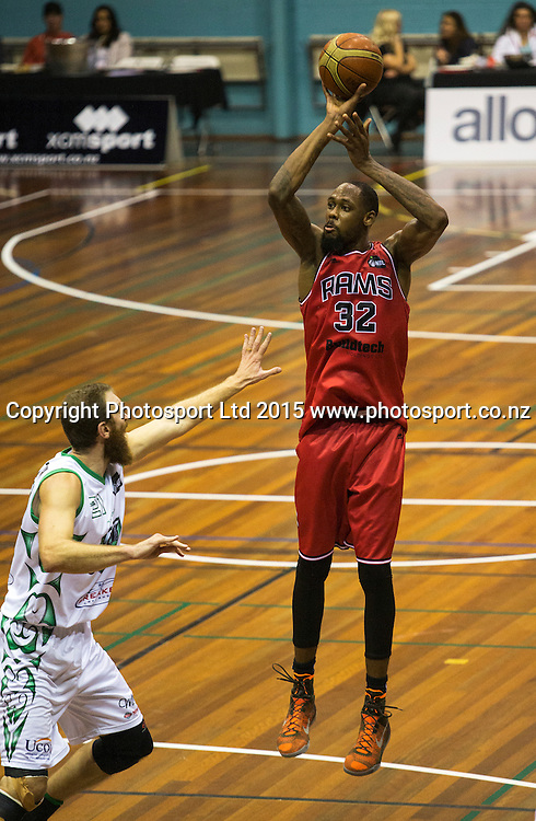 Mickell Gladness of the Rams shoots the ball over Nick Horvath of the Jets during the National Basketball League game between the Canterbury Rams v Manawatu Jets at Cowles Stadium in Christchurch. 10th April 2015 Photo: Joseph Johnson/www.photosport.co.nz
