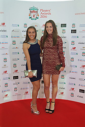 LIVERPOOL, ENGLAND - Thursday, May 12, 2016: Liverpool Ladies' Katie Zelem and Caroline Weir arrive on the red carpet for the Liverpool FC Players' Awards Dinner 2016 at the Liverpool Arena. (Pic by David Rawcliffe/Propaganda)