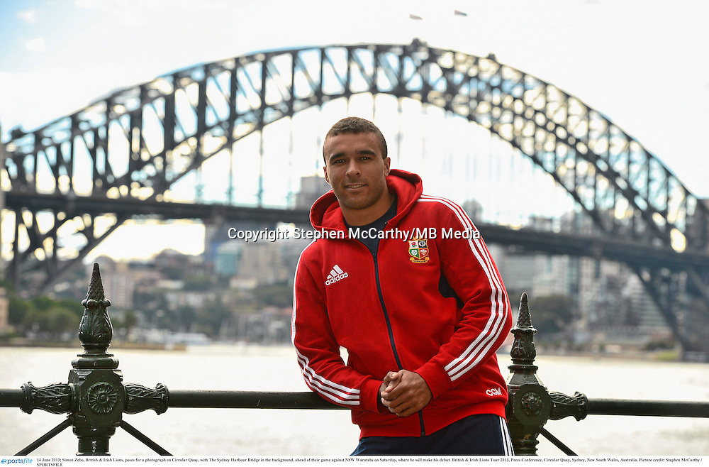 14 June 2013; Simon Zebo, British & Irish Lions, poses for a photograph on Circular Quay, with The Sydney Harbour Bridge in the background, ahead of their game against NSW Waratahs on Saturday, where he will make his debut. British & Irish Lions Tour 2013, Press Conference, Circular Quay, Sydney, New South Wales, Australia. Picture credit: Stephen McCarthy / SPORTSFILE