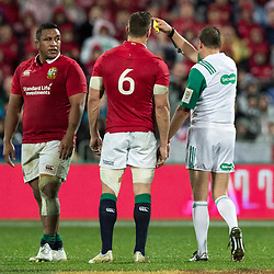 Mako Vunipola gets yellow card  Jérôme Garcès (France)  during game 9 of the British and Irish Lions 2017 Tour of New Zealand, the second Test match between  The All Blacks and British and Irish Lions, Westpac Stadium, Wellington, Saturday 1st July 2017<br /> (Photo by Kevin Booth Steve Haag Sports)<br /> <br /> Images for social media must have consent from Steve Haag