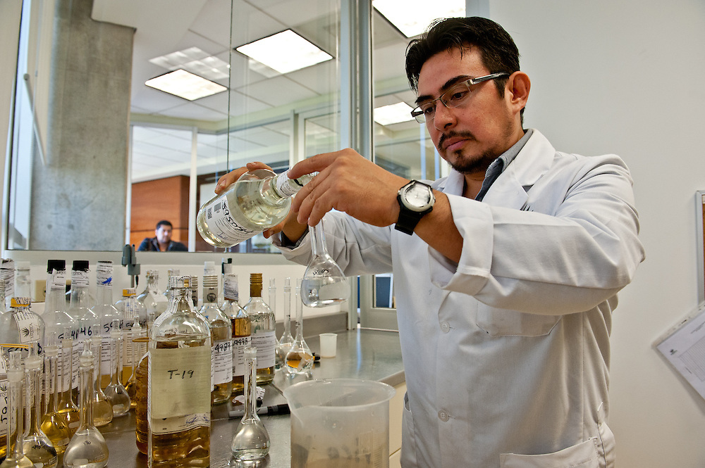 Laboratory scientists at the Tequila Regulatory Council's headquarters in Guadalajara run tests to make sure every tequila producers products meet the highest quality and safety standards.