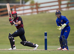 Canterbury's Chad Bowes, left, batting as Otago Volts' Derek de Boorder keeps wicket in the Ford Trophy one-day domestic cricket match at the University of Otago Oval, Dunedin, New Zealand, Saturday, January 27, 2018. Credit:SNPA / Adam Binns ** NO ARCHIVING**