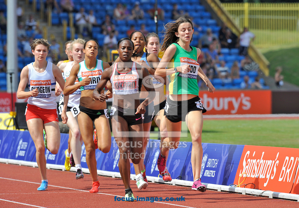 Picture by Alan Stanford/Focus Images Ltd +44 7915 056117<br /> 12/07/2013<br /> Jessica Judd (GBR) leads the way from Marilyn Okoro (GBR) during the final of the 800m on day two of Sainsbury's British Championship at Alexander Stadium, Birmingham.