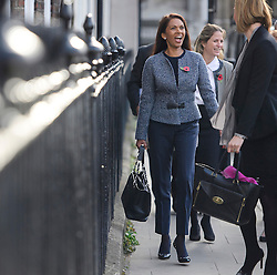 © Licensed to London News Pictures. 03/11/2016. London, UK. Campaigner GINA MILLER laughing as she leaves the High Court after a ruling was announced on her Brexit legal challenge. Ms Miller and other campaigners launched a legal challenge, after the EU referendum result, to force the government to seek Parliamentary approval before Brexit negotiations begin. Photo credit: Ben Cawthra/LNP