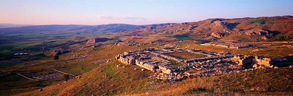 TURKEY, CENTRAL ANATOLIA HATTUSAS; capital of the Hittites 200-1200BC, overview of the site with temple foundations in foreground