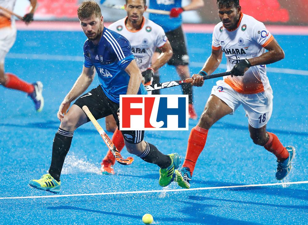 Odisha Men's Hockey World League Final Bhubaneswar 2017<br /> Match id:19<br /> India v Argentina<br /> Foto: Alan Andino (Arg) and Amit Rohidas (Ind)  <br /> COPYRIGHT WORLDSPORTPICS KOEN SUYK