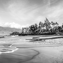 Maui Kamaole Beach Park black and white panorama photo with Maalaea Bay in Wailiea Kihei Hawaii in the Hawaiian Islands. Copyright ⓒ 2019 Paul Velgos with All Rights Reserved.