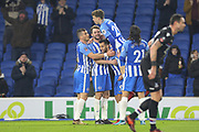 Brighton and Hove Albion midfielder Dale Stephens (6) celebrates his goal during the The FA Cup 3rd round match between Brighton and Hove Albion and Crystal Palace at the American Express Community Stadium, Brighton and Hove, England on 8 January 2018. Photo by Phil Duncan.