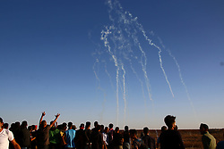 November 2, 2018 - Gaza, Palestine - Tear gas seen fired in the sky during demonstrations between Palestinian citizens and the Zionist occupation forces north of the Gaza Strip..The protest was against the rejection of the Zionist siege and recognition of US President, Jerusalem as the capital of Israel. (Credit Image: © Ahmad Hasaballah/SOPA Images via ZUMA Wire)