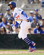 GLENDALE, ARIZONA - FEBRUARY 23:  Matt Kemp #27 of the Los Angeles Dodgers bats during the game against the Chicago White Sox on February 23, 2018 at Camelback Ranch in Glendale Arizona.  (Photo by Ron Vesely)  Subject:   Matt Kemp