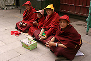 Tibetan Novice Monks taking a break from their kora circumnavigation at Barkhor Square.