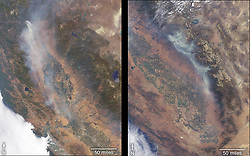 August 1, 2018 - California, U.S. - Image Released Today: More than a dozen wildfires are burning in the state of California. The Ferguson Fire (right) ignited July 13th west of Yosemite National Park. Much of the forest in this area suffered extreme stress due to the extended drought of 2012 through 2017, and bark beetle damage, leaving many dead trees through which the fire has burned rapidly. Many surrounding towns have been under evacuation orders. MISR instrument on NASA's Terra satellite passed over California on July 27 and July 29, observing the Carr Fire on July 27 and the Ferguson Fire on July 29. (Credit Image: © GSFC/NASA via ZUMA Wire/ZUMAPRESS.com)