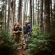 Kevin and Scott on their way up to Old Speck Mountain on the second day of our backpacking trip through the Mahoosuc Notch in Maine