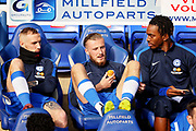 Peterborough United forward Ivan Toney (17), Peterborough United midfielder George Cooper (19) and Peterborough United midfielder Marcus Maddison (21) before the EFL Sky Bet League 1 match between Peterborough United and Accrington Stanley at London Road, Peterborough, England on 20 October 2018.