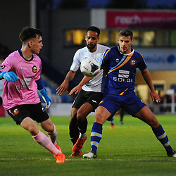 TELFORD COPYRIGHT MIKE SHERIDAN Brendon Daniels of Telford closes down during the National League North fixture between AFC Telford United and Gloucester City at the New Bucks Head Stadium on Tuesday, September 3, 2019<br /> <br /> Picture credit: Mike Sheridan<br /> <br /> MS201920-015