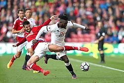 Antonio Barragan of Middlesbrough tackles Isaac Success of Watford - Mandatory by-line: Robbie Stephenson/JMP - 16/10/2016 - FOOTBALL - Riverside Stadium - Middlesbrough, England - Middlesbrough v Watford - Premier League