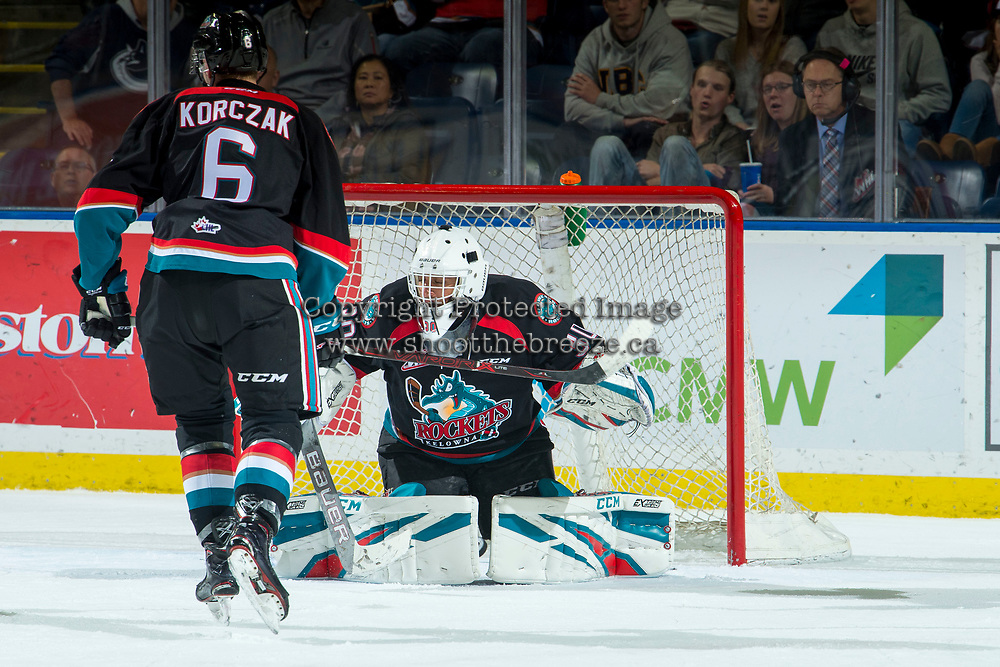 KELOWNA, CANADA - OCTOBER 3:  Roman Basran #30 of the Kelowna Rockets defends the net during first period against the Vancouver Giants on October 3, 2018 at Prospera Place in Kelowna, British Columbia, Canada.  (Photo by Marissa Baecker/Shoot the Breeze)  *** Local Caption ***