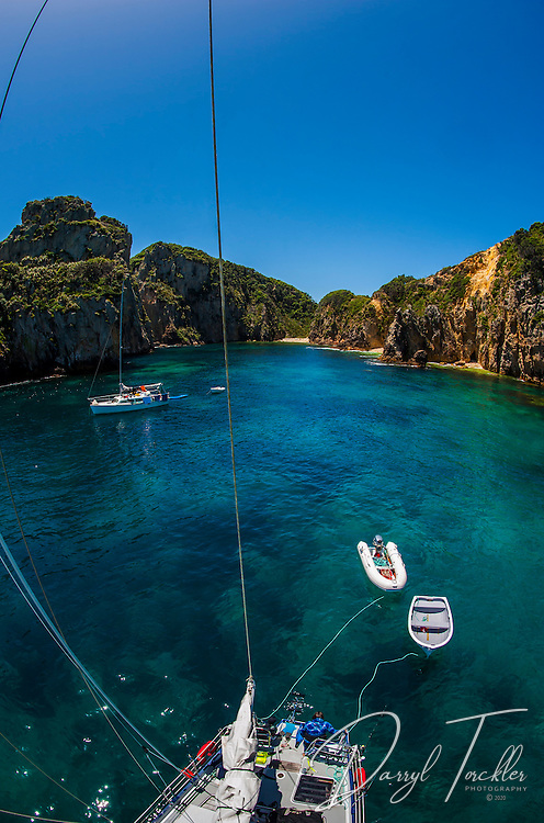 View from the aft mast at Arch Rock in the Flax Islands. Mokohinau Islands.