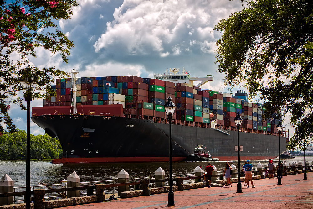 The 13,000 TEU container ship Maersk Edison sailed up river to the Georgia Ports Authority Port of Savannah, Thursday, Aug., 10, 2017, in Savannah, Ga.  (GPA Photo/Stephen B. Morton)