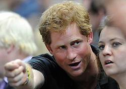 Prince Harry attends the wheelchair rugby during the invictus games - Photo mandatory by-line: Dougie Allward/JMP - Mobile: 07966 386802 - 12/09/2014 - The Invictus Games - Day 2 - Wheelchair Rugby - London - Copper Box Arena
