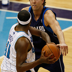 Mar 22, 2010; New Orleans, LA, USA; Dallas Mavericks forward Dirk Nowitzki (41) guards New Orleans Hornets forward James Posey (41) during the first half at the New Orleans Arena. Mandatory Credit: Derick E. Hingle-US PRESSWIRE