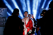 Sofiane Takoucht makes his entrance to the ring before the Josh Warrington Sofiane Takoucht IBF featherweight title fight at First Direct Arena, Leeds, United Kingdom on 12 October 2019.
