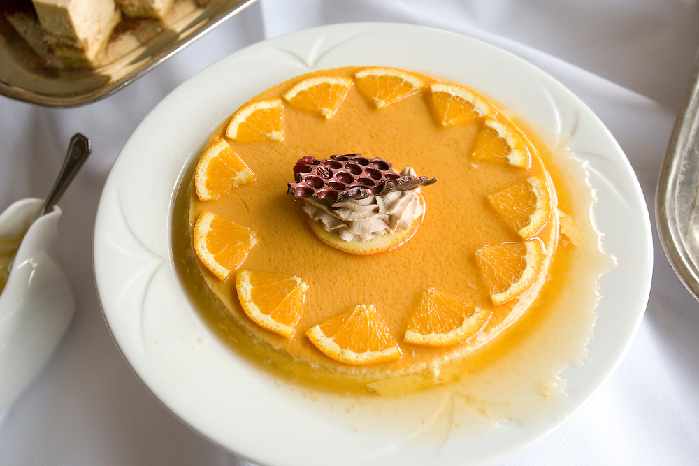 Orange flan at the Fairmont Jasper Park Lodge, Jasper National Park, Alberta, Canada