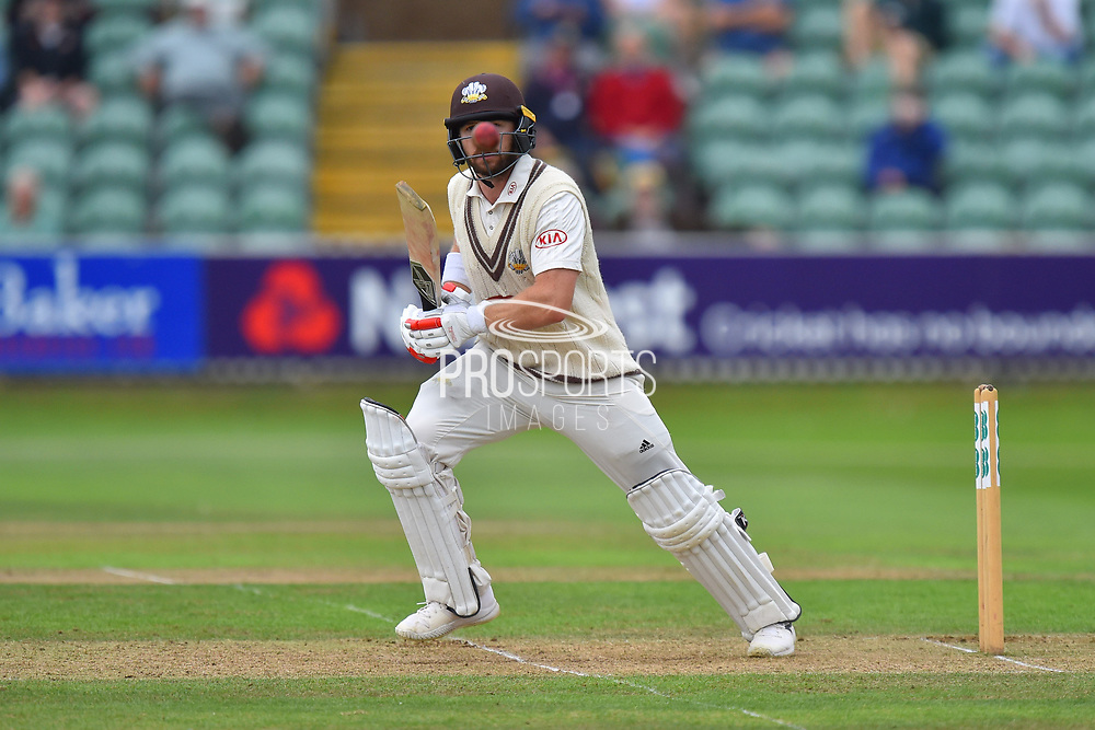 Red Nose Day - Mark Stoneman of Surrey looking like he has a big red nose as the ball bounces up in front of him during the opening day of the Specsavers County Champ Div 1 match between Somerset County Cricket Club and Surrey County Cricket Club at the Cooper Associates County Ground, Taunton, United Kingdom on 18 September 2018.