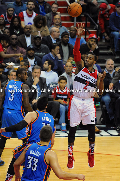 10 November 2015:  Washington Wizards guard John Wall (2) in action against Oklahoma City Thunder center Enes Kanter (11) at the Verizon Center in Washington, D.C. where the Oklahoma City Thunder defeated the Washington Wizards, 125-101. (Photograph by Icon Sportswire)